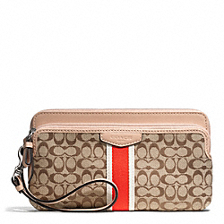 SIGNATURE STRIPE 6CM DOUBLE ZIP WALLET COACH F50791