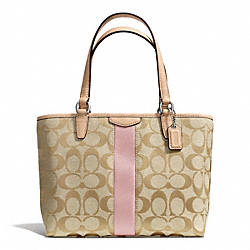 COACH SIGNATURE STRIPE TOP HANDLE TOTE - SILVER/LIGHT KHAKI/SHELL PINK - F50792
