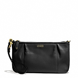 CAMPBELL LEATHER LARGE WRISTLET - BRASS/BLACK - COACH F50796