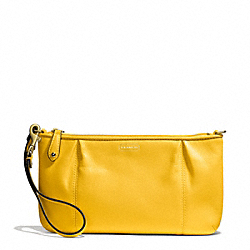 COACH CAMPBELL LEATHER LARGE WRISTLET - BRASS/SUNFLOWER - F50796