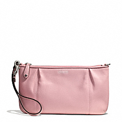 COACH CAMPBELL LEATHER LARGE WRISTLET - SILVER/PINK TULLE - F50796