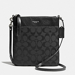 COACH SIGNATURE NORTH/SOUTH SWINGPACK - SILVER/BLACK/BLACK - F50808