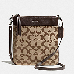 COACH SIGNATURE NORTH/SOUTH SWINGPACK - SILVER/KHAKI/MAHOGANY - F50808