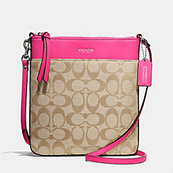 COACH SIGNATURE NORTH/SOUTH SWINGPACK - SILVER/LIGHT KHAKI/PINK RUBY - F50808