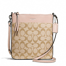 COACH SIGNATURE NORTH/SOUTH SWINGPACK - SILVER/LT KHAKI/PEACH ROSE - F50808