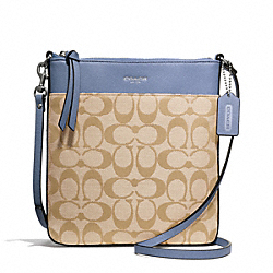 COACH SIGNATURE NORTH/SOUTH SWINGPACK - SILVER/LT KHAKI/CORNFLOWER - F50808