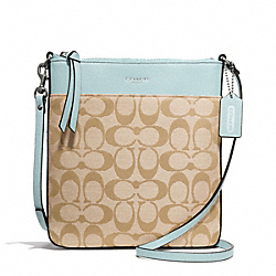 SIGNATURE NORTH/SOUTH SWINGPACK - SILVER/LIGHT GOLDGHT KHAKI/SEA MIST - COACH F50808