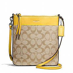 COACH SIGNATURE NORTH/SOUTH SWINGPACK - SILVER/LIGHT GOLDGHT KHAKI/SUNGLOW - F50808