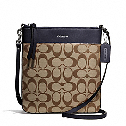 COACH SIGNATURE NORTH/SOUTH SWINGPACK - SILVER/KHAKI/ULTRA NAVY - F50808