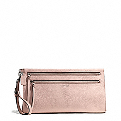 COACH BLEECKER PEBBLED LEATHER LARGE CLUTCH - SILVER/PEACH ROSE - F50810