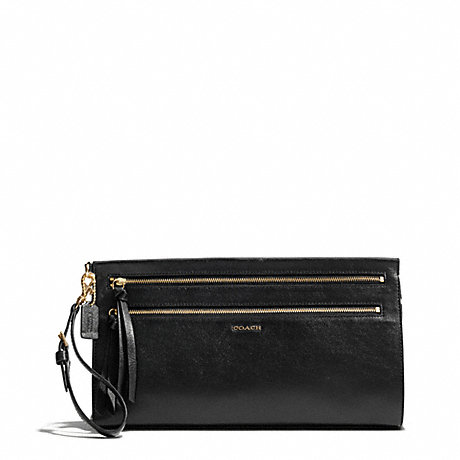 COACH MADISON TWO-TONE PYTHON EMBOSSED LEATHER LARGE CLUTCH - LIGHT GOLD/BLACK - f50812