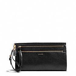 MADISON TWO-TONE PYTHON EMBOSSED LEATHER LARGE CLUTCH - f50812 - LIGHT GOLD/BLACK