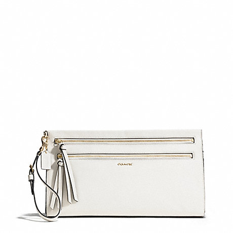 COACH MADISON TWO-TONE PYTHON EMBOSSED LEATHER LARGE CLUTCH - LIGHT GOLD/PARCHMENT - f50812