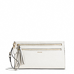 MADISON TWO-TONE PYTHON EMBOSSED LEATHER LARGE CLUTCH - f50812 - LIGHT GOLD/PARCHMENT