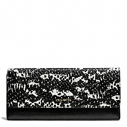 COACH MADISON TWO TONE PYTHON EMBOSSED SOFT WALLET - LIGHT GOLD/BLACK - F50846