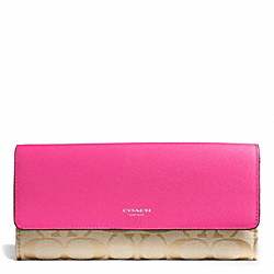 COACH SIGNATURE SLIM ENVELOPE WALLET - SILVER/LIGHT GOLDGHT KHAKI/PINK RUBY - F50859