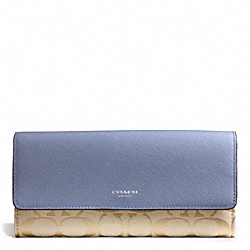 COACH SIGNATURE SLIM ENVELOPE WALLET - SILVER/LT KHAKI/CORNFLOWER - F50859