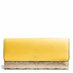 COACH SIGNATURE SLIM ENVELOPE WALLET - SILVER/LIGHT GOLDGHT KHAKI/SUNGLOW - F50859