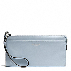 BLEECKER LEATHER ZIPPY WALLET - f50860 - SILVER/POWDER BLUE