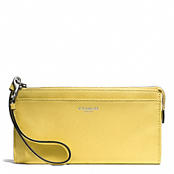 COACH BLEECKER LEATHER ZIPPY WALLET - SILVER/PALE LEMON - F50860