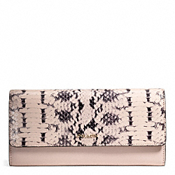 MADISON TWO-TONE PYTHON EMBOSSED LEATHER SLIM ENVELOPE WALLET - f50863 - LIGHT GOLD/BLUSH