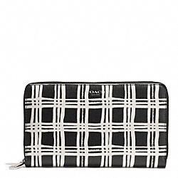 COACH BLEECKER BLACK AND WHITE PRINT COATED CANVAS CONTINENTAL ZIP WALLET - SILVER/BLACK MULTI - F50870