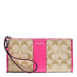 COACH SIGNATURE ZIPPY WALLET - SILVER/LIGHT GOLDGHT KHAKI/PINK RUBY - F50871