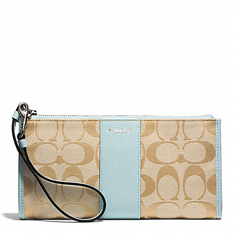 COACH SIGNATURE ZIPPY WALLET - SILVER/LIGHT GOLDGHT KHAKI/SEA MIST - f50871