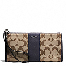 COACH SIGNATURE ZIPPY WALLET - SILVER/KHAKI/ULTRA NAVY - F50871