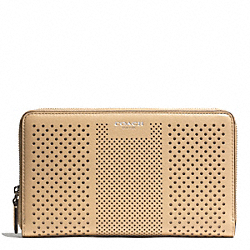 BLEECKER STRIPED PERFORATED LEATHER CONTINENTAL ZIP WALLET - SILVER/TAN - COACH F50875