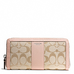 COACH SIGNATURE ACCORDION ZIP WALLET - SILVER/LT KHAKI/PEACH ROSE - F50879