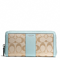 COACH SIGNATURE ACCORDION ZIP WALLET - SILVER/LIGHT GOLDGHT KHAKI/SEA MIST - F50879