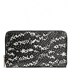 COACH MADISON TWO-TONE PYTHON CONTINENTAL ZIP WALLET - LIGHT GOLD/BLACK - F50883