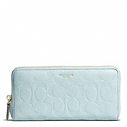 COACH BLEECKER LOGO EMBOSSED ACCORDION ZIP WALLET - GOLD/SEA MIST - F50884