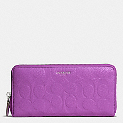 BLEECKER LOGO EMBOSSED ACCORDION ZIP WALLET - SILVER/BRIGHT MULBERRY - COACH F50884