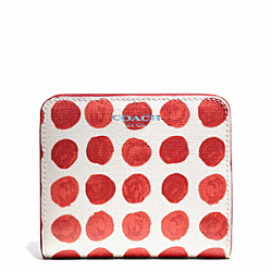 COACH BLEECKER PAINTED DOT SMALL WALLET - BRASS/LOVE RED MULTICOLOR - F50887