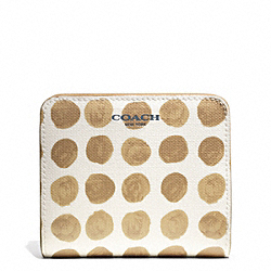 COACH BLEECKER PAINTED DOT SMALL WALLET - SILVER/TAN MULTI - F50887