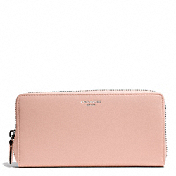 COACH BLEECKER LEATHER ACCORDION ZIP WALLET - SILVER/PEACH ROSE - F50891