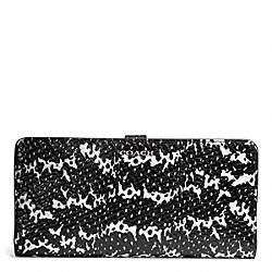 COACH MADISON TWO TONE PYTHON EMBOSSED LEATHER SKINNY WALLET - LIGHT GOLD/BLACK - F50898