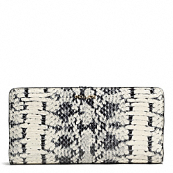 COACH MADISON TWO TONE PYTHON EMBOSSED LEATHER SKINNY WALLET - LIGHT GOLD/PARCHMENT - F50898