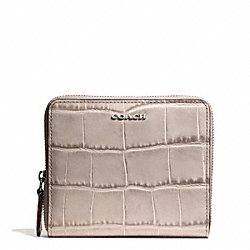 COACH MADISON CROC EMBOSSED MEDIUM CONTINENTAL ZIP WALLET - SILVER/GREY BIRCH - F50905
