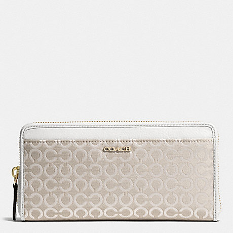 COACH MADISON ACCORDION ZIP WALLET IN OP ART PEARLESCENT FABRIC - LIGHT GOLD/NEW KHAKI - f50908