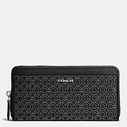 COACH MADISON OP ART PEARLESCENT FABRIC ACCORDION ZIP WALLET - SILVER/BLACK - F50908