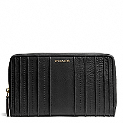 COACH MADISON PINTUCK LEATHER CONTINENTAL ZIP WALLET - LIGHT GOLD/BLACK - F50909