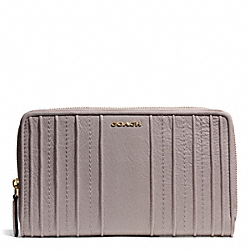 COACH MADISON PINTUCK LEATHER CONTINENTAL ZIP WALLET - LIGHT GOLD/GREY BIRCH - F50909