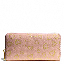 COACH WAVERLY HEART PRINT ACCORDION ZIP WALLET - LIGHT GOLD/LIGHT GOLDGHT PINK - F50920
