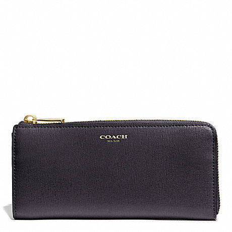 COACH SAFFIANO LEATHER SLIM ZIP WALLET - GOLD/ULTRA NAVY - f50923