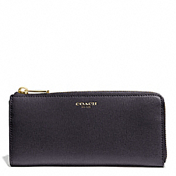 SAFFIANO LEATHER SLIM ZIP WALLET - f50923 - GOLD/ULTRA NAVY