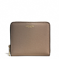 COACH MEDIUM SAFFIANO LEATHER CONTINENTAL ZIP WALLET - LIGHT GOLD/SILT - F50924