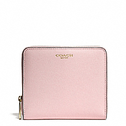 COACH MEDIUM SAFFIANO LEATHER CONTINENTAL ZIP WALLET - LIGHT GOLD/NEUTRAL PINK - F50924